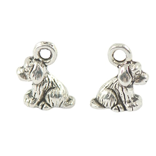 MonkeyJack 50 Pieces Wholesale Tibetan Silver Cute 3D Puppy Dog Charms Pendants Jewelry DIY Making for Necklace Pendant Bracelet ()