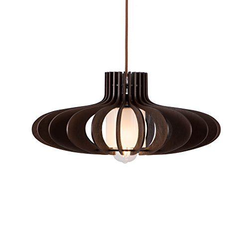 MAYKKE Oban Medium Wooden Pendant Lamp | Lantern Style with Dark Brown Rings, Hanging Light with Adjustable Cord | Walnut Wood Finish, MDB1040201 by Maykke (Image #3)