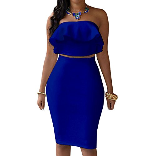 (Kalin Women's Ruffle Crop Top Maxi Skirt Set 2 Piece Outfit Bandage Nightclub Dress (L, Blue))