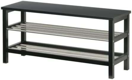 Ikea Tjusig Banc Range Chaussures Noir 108x50 Cm