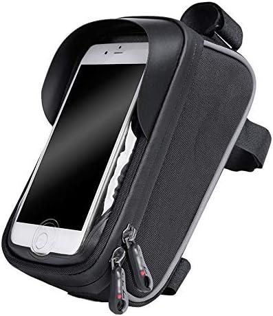 自転車バッグ 自転車フロントバッグ MTBバイクフロントチューブフレームパニエサンバイザーシティロード自転車クロスバーバッグサイクリングフレームパニエ携帯電話ホルダー6インチスマートフォン用ポーチホルダー ロードバイク/マウンテンバイク/クロスバイク適用 (Color : Black, Size : 6 inch touchscreen)