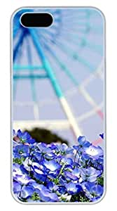 iPhone 5 5S Case Landscape Wheel Blue Flowers Funny Lovely Best Cool Customize iPhone 5S Cover White