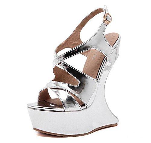 GLTER Las mujeres de tacón abierto Tacones Sandalias de verano de tacón alto en forma de escritorio impermeable Nightclub con Encanto Zapatos silver