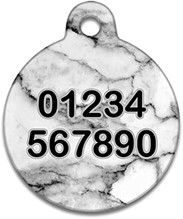 Spoilt Rotten Pets 19mm Tiny Grey Carrara Marble Pet Identity Cat or Dog Tag Custom Printed with Your Dog or Cats Name /& Contact Details 19mm Diameter Tag - Tiny