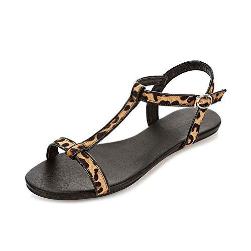 OCHENTA Mujer y hija de la hebilla simple sandalias planas Leopardo