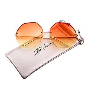 The Fresh Fashion Designer Oversize Hexagon Metal frame Ocean Colored Lens Women Sunglasses with Gift Box (Gold, Orange/Yellow)