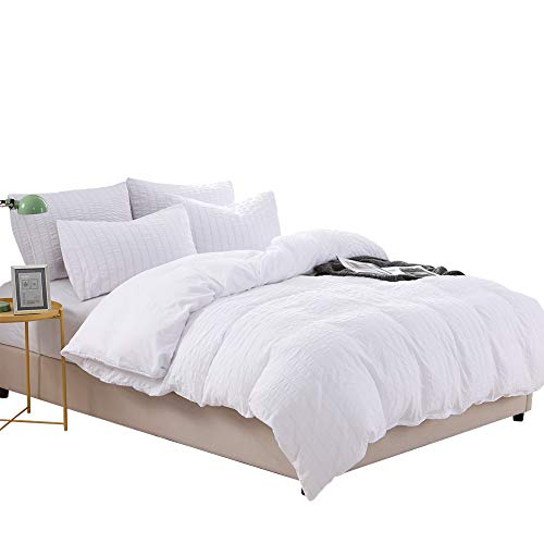- Arachnes Needle Duvet Cover Set, 3 Pieces Pleated Splicing Seersucker Bedding Set with 1 Duvet Cover and 2 Pillowcases Simplicity Style for Living Room Decor- King White
