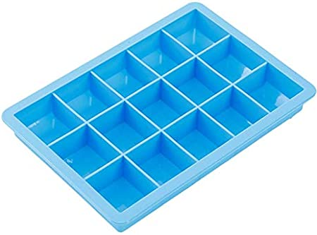 Bandeja para cubitos de hielo con tapa, 15 cavidades, formas cuadradas, moldes de silicona para hielo para whisky, bebidas, cócteles, botellas de agua, vasos de chupito, azul cielo