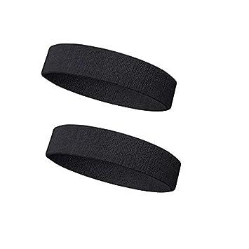 Sports Head Band Pack of 2   Black