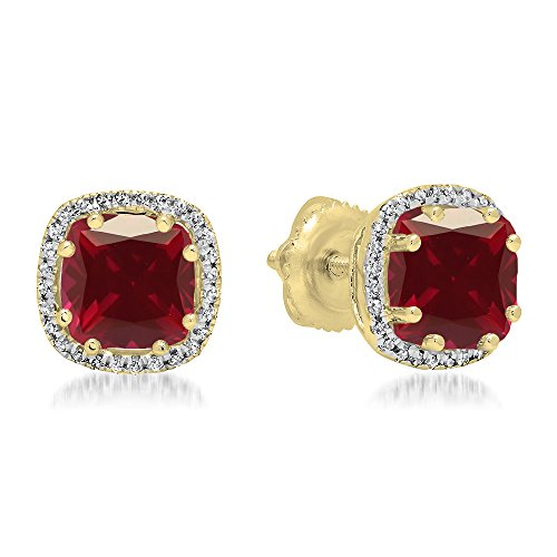Dazzlingrock Collection 14K Cushion Cut Ruby & Round Cut White Diamond Ladies Halo Style Stud Earrings, Yellow Gold (Ruby Cushion Cut)