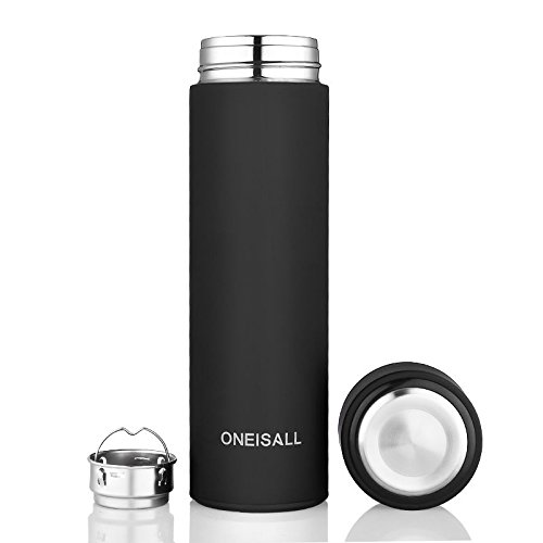 Black Insulated Stainless Steel Flask Travel Mug Beverage Bottle 16Oz by Travel Mugs