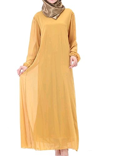 Middle Women's Belted East Solid Coolred Robe Pattern4 Long Sleeve Muslim Dress qpOwPO17I