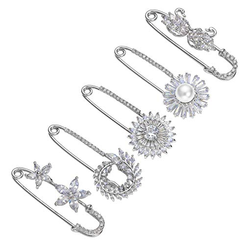 Top Plaza Flowers Scarf Clip Diamante Lapel Pin Suit Sweater Scarves Brooch Pins Rhinstones Safety Pin Wedding Banquet Jewelry - 5 Pcs #1