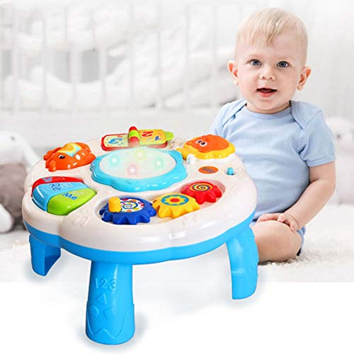 Baby Music Learning Table Multifunctional Game Table with Colorful Light Sound Early Educational Toy for Children 3+