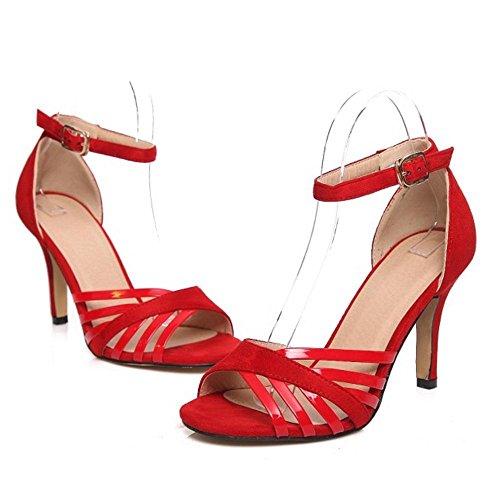 Coolcept Mujer Elegant Tacon de Aguja Tacon Alto Punta Abierta Sandalias Al Tobillo Zapatos Rojo
