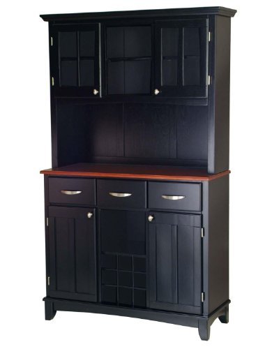 Home Styles 5100-0042-42 Buffet of Buffets Medium Cherry Wood Top Buffet with Hutch, Black Finish, ()
