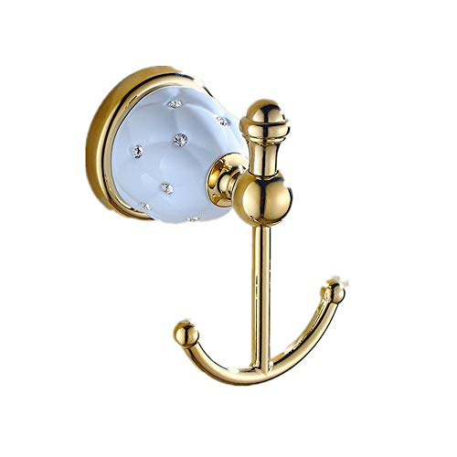 AUSWIND Antique Gold Solid Brass Polished Coat Hook Star Diamond Ceramic Cloth Hook Wall Mounted Bathroom Accessories Er5