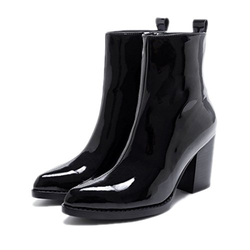 Patent Leather Ankle Boots Ladies Zipper Platform High Heels Pointed Shoes black 7.5
