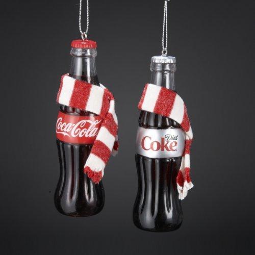 - COCA-COLA® COKE BOTTLE WITH SCARF ORNAMENT - 2 ASSORTED: COCA-COLA AND DIET COKE