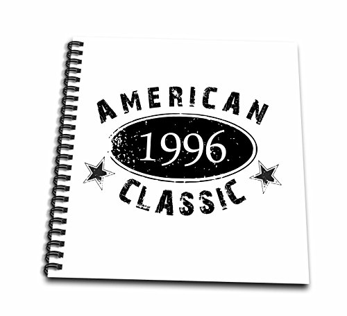 American Classic Rose - 3D Rose db_161810_1 3dRose 1996 American Classic-Personalized Birth Year Birthday Gift-Black Grunge Vintage Look-Funny-Drawing Book, 8 by 8-inch, 8