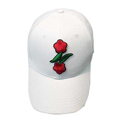 [Unisex Baseball Cap , Winhurn Couple Applique Letter /Floral Adjustable Hiphop Snapback Hat (White] (Hip Hop Felt Hat With Feather)