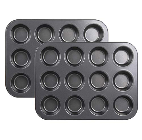 Kingrol 12-Cup Standard Muffin Pan, Set of 2 Non-stick Carbon Steel Cupcake Pan ...