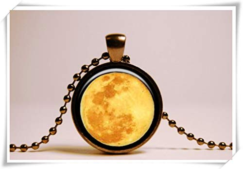 One Life ,one jewerly Full Moon Pendant Moon Necklace , Midnight Jewelry , Black Pendant,Dome Glass Jewelry, Pure Hand-Made ()
