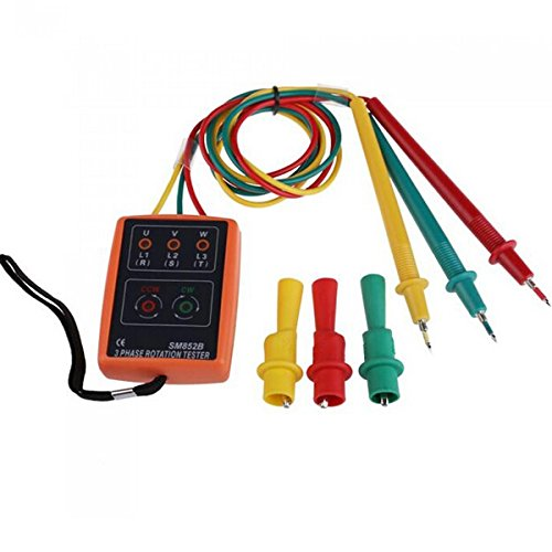 SM852B 3 Phase Rotation Tester Indicator Detector Meter with LED + Buzzer - 3