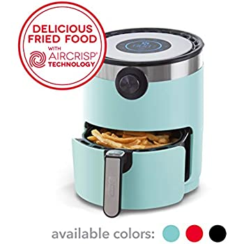 Dash DMAF360GBAQ02 AirCrisp Pro Electric Air Fryer + Oven Cooker with Digital Display + 8 Presets, Temperature Control, Non Stick Fry Basket, Recipe Guide + Auto Shut Off Feature, 3qt, Aqua