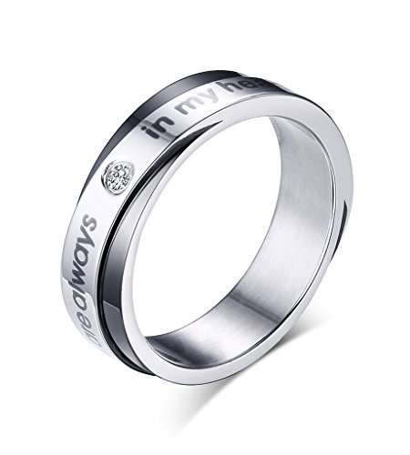 Mens Stainless Steel Promise Ring for Couple Lovers Wedding Band Engagement ,Black & ,Size 11