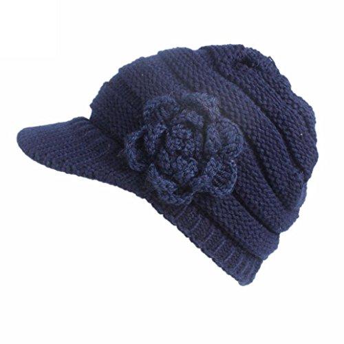 Goddessvan Womens Hat, Women Winter Knitting Hat Berets Turban Brim Hat Cap Pile Cap (Navy) (Beanie Brim Basic)