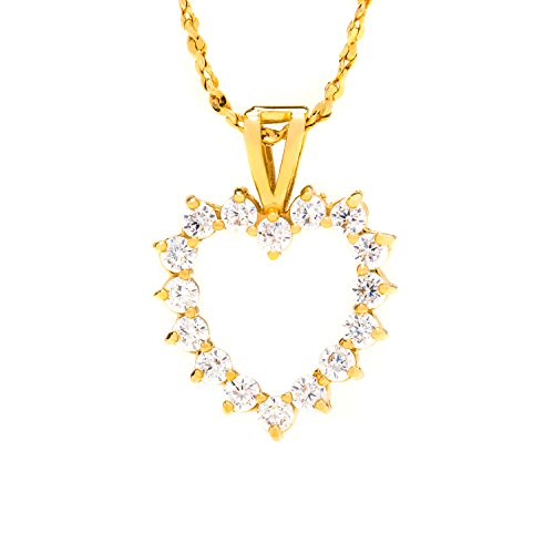 14k Mom Heart (Lifetime Jewelry Heart Necklace, Open Cubic Zirconia Pendant, Comes on an 18 Inch Chain Made of 24K Gold Over Semi-Precious Metals in a Box or Pouch for Gift Giving)