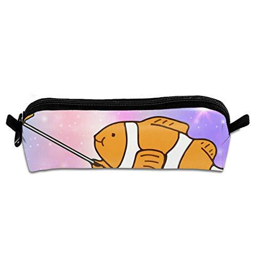EWFBVa Durable Zipper Stationery Bag Self Timer Clown Fish Big Capacity Pencil Case