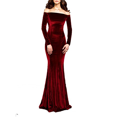 TTYbridal Off The Shoulder Velvet Evening Gown Long Prom Party Dresses with Two Sleeves 2 Burgundy ()