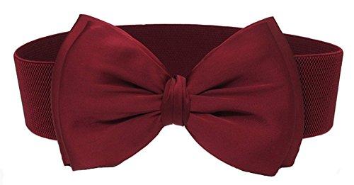 Stretch Velvet Belt - BAIMIL Bow-knot Wide Interlock Buckle Womens Elastic Waist Belt Burgundy One Size