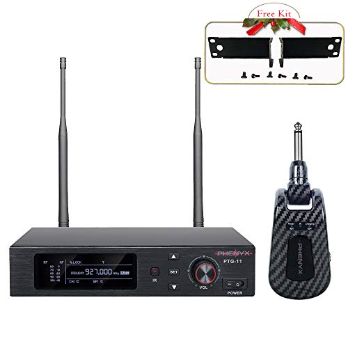 UHF True Diversity Wireless Guitar System, Phenyx Pro Professional Guitar Transmitter/Receiver, 100 Channels, Rechargeable, 165ft Operation, Works with Electric/Acoustic Guitar (PTG-11)