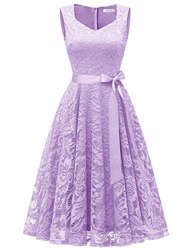 Gardenwed Women's Vintage Floral Lace Cocktail Evening Party Dress Elegant V-Neck Bridesmaid Dress Lavender -