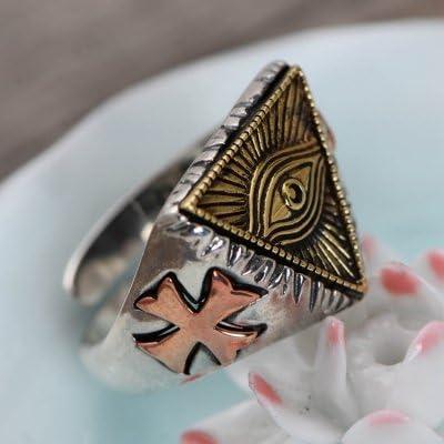 FORFOX Bague Illuminati ma/çonnique Franc ma/çon avec Croix Or Rose en Argent Sterling 925 pour Hommes Femmes r/églable 58-65