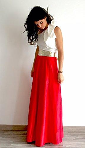 &Drie Falda Larga Raso Rojo pasión (m): Amazon.es: Ropa y accesorios