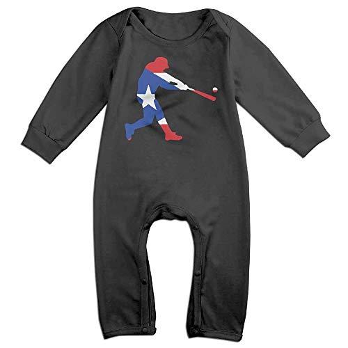 TYLER DEAN Newborn Kids Coverall Puerto Rico Flag Baseballer Baby Rompers Black