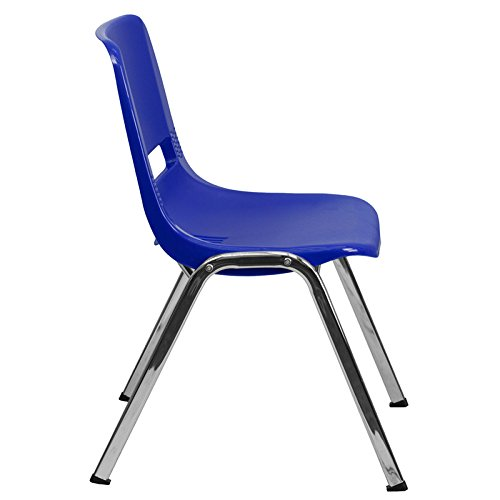 Hercules Series 880 lb. Capacity Navy Ergonomic Shell Stack Chair with Chrome Frame and 18'' Seat Height 19.5'' W x 23'' D x 32'' H