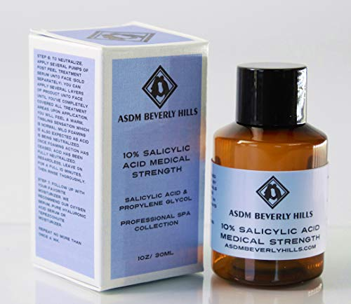 ASDM Beverly Hills 10% Salicylic Acid Peel |1 Ounce| Anti-Aging Treatment for Acne Scars, Wrinkles, Loose, Oily, and Dry Skin- Removes Corns, Calluses, and Warts on the Hands or Feet