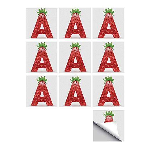 C COABALLA Letter A Stylish Ceramic Tile Stickers 10 Pieces,Letter A in Strawberry Style with Green Leaves Alphabet Fun Food Theme Decorative for Kitchen Living Room,5