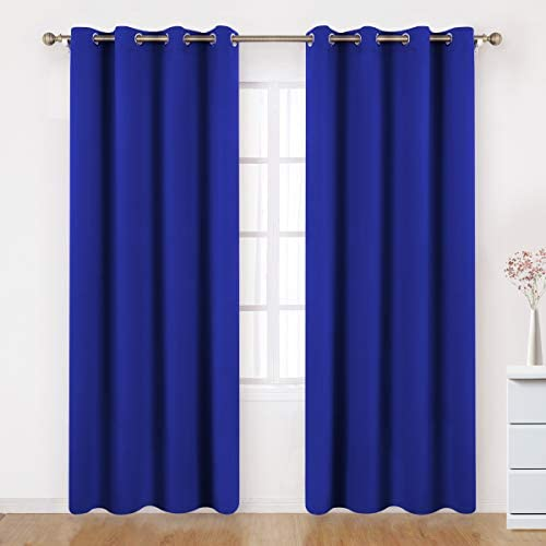BYSURE Royal Blue Blackout Curtains Drapes 84 Inches Long Window Treatment, Royal Room Darkening Grommets Curtains for Bedroom Energy Saving Thermal Curtains 52 Wide 2 Panels 52×84, Royal Blue