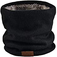 NovForth Neck Warmer Double-Layer Fleece Lining Knit Winter Infinity Scarf Chunky Thick Windproof Circle Loop