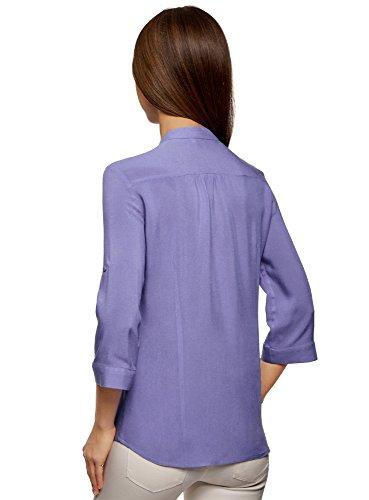 Manche Blouse Femme 7502n Rglable Violet Viscose en Ultra oodji TxAgX