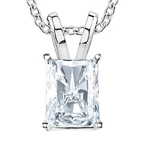 1/2 Carat GIA Certified Solitaire Radiant Cut Diamond Pendant (0.5 Ct I-J Color, VS1-VS2 Clarity) w/Gold Chain