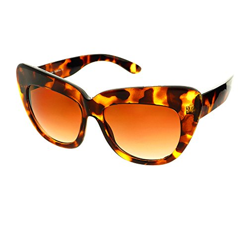 Large Thick Framed Retro Vintage Fashion Designer Inspired Style Cat Eye Sunglasses - Large Framed Women