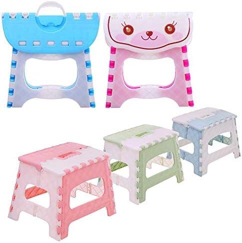 Folding Step Stool Lightweight Step Stool Mini Cartoon Safe Stool for Kids Green