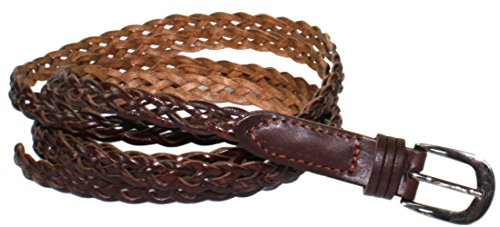 Ted and Jack - Super Skinny Leather Braided Belt in Brown 70 inches